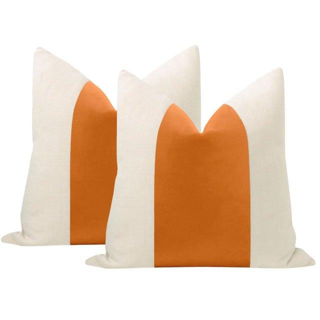 """22"""" Hermes Orange Italian Velvet Panel & Linen Pillows - a Pair For Sale - Image 6 of 6"""