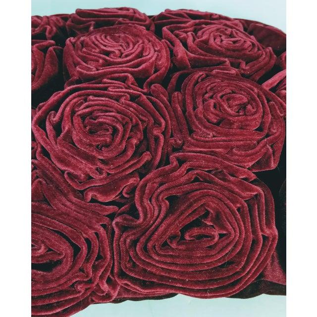Shabby Chic Velvet Roses Pillow Cranberry Red For Sale - Image 3 of 5