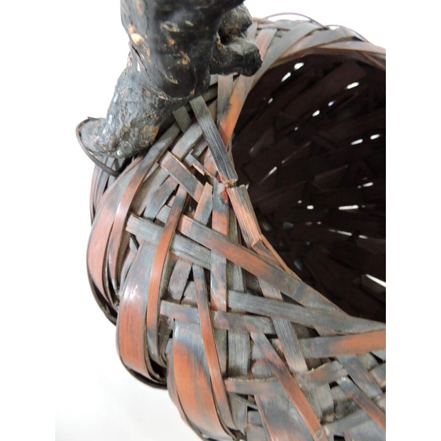 Gnarled Burl Wood and Split Bamboo Ikebana / Tea Ceremony Basket - Image 8 of 8
