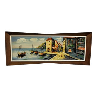 "Mid-Century 1960's Art Water Color on Board ""Anchor Bay"" by Gunes With 3d Bow Tie Walnut Frame For Sale"