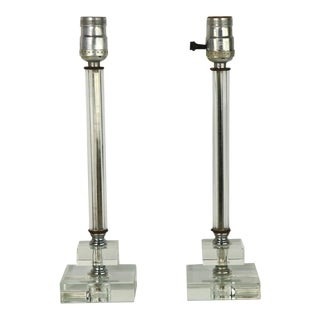 1950s Glass Candlestick Boudoir Lamps - a Pair For Sale