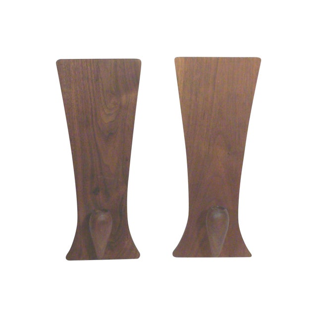 Baughman-Style Walnut Wall Sconces - A Pair - Image 1 of 6