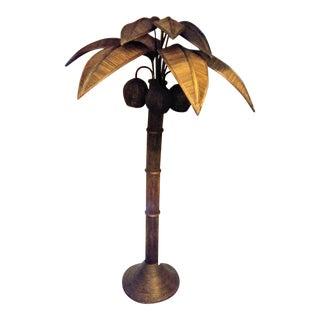 Vintage Mario Lopez Torres Massive Dark Brown Rattan Palm Beach Regency Palm Tree Coconut Floor Lamp For Sale