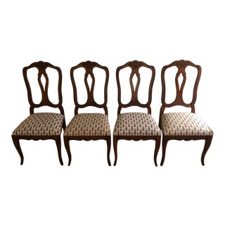 Late 20th Century Vintage Ethan Allen Country French Splat Back Dining Side Chairs- Set of 4 For Sale