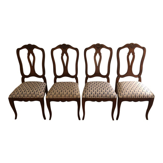 Late 20th Century Vintage Ethan Allen Country French Splat Back Dining Side Chairs Set Of 4