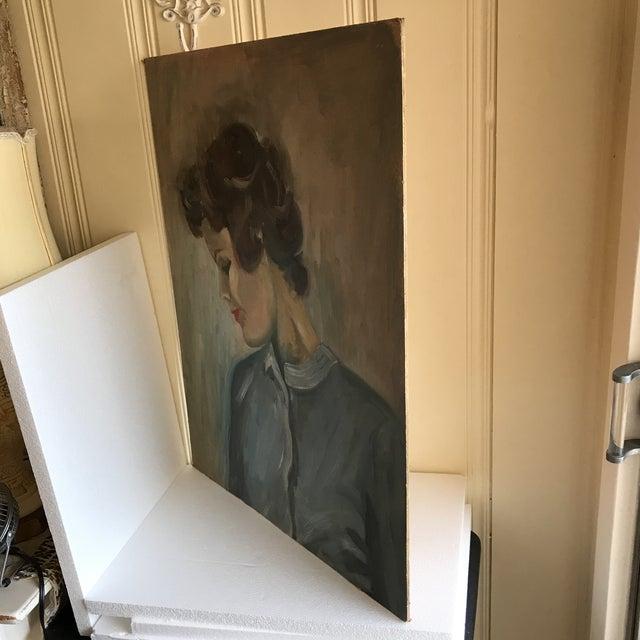 Vintage Female Portrait Painting For Sale - Image 4 of 7