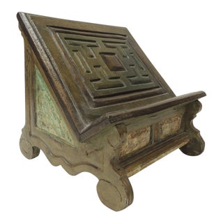 Vintage Indian Hand-Painted and Carved Wood Artisanal Book Stand For Sale