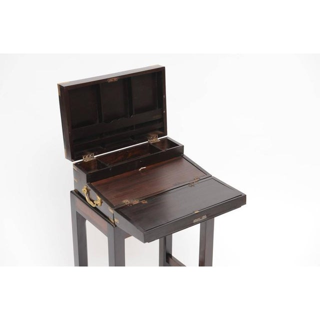 Rare late 19th century British Campaign rosewood lap desk on custom-made stand. Used by the British officers for their...