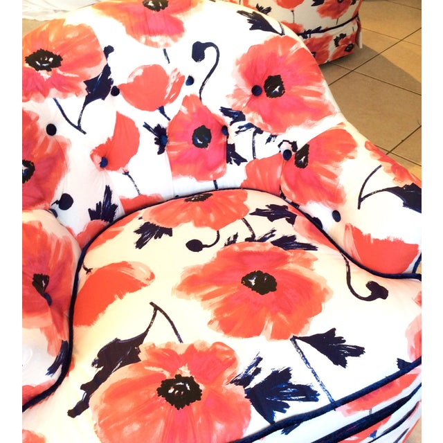 1990s Vintage Kate Spade Poppies Printed Fabric Swivel Chairs- A Pair For Sale - Image 6 of 10