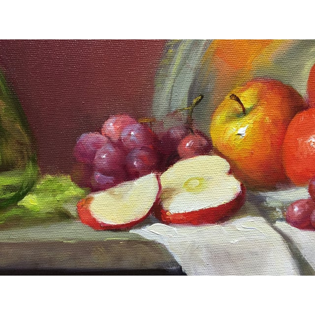 Red Apples, Grapes and Green Bottle Oil Painting - Image 4 of 4