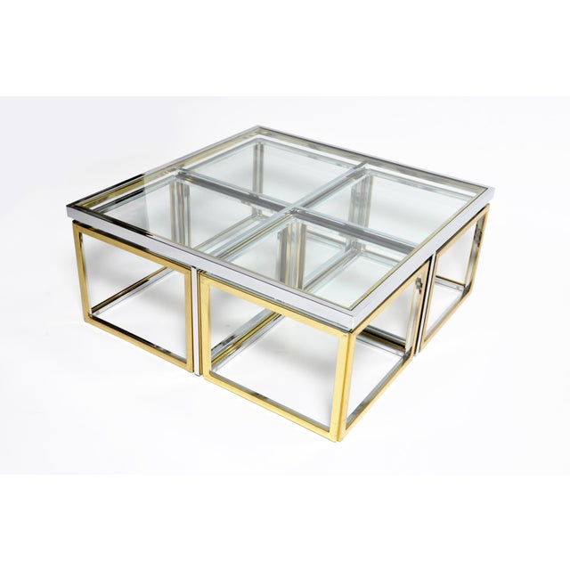 1970s Five-Piece Brass Table Set With Glass Top For Sale - Image 4 of 13