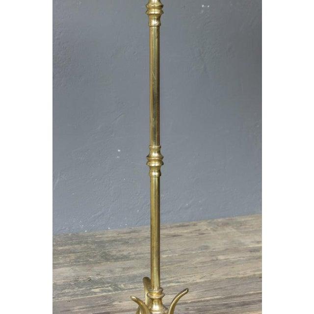 Art Nouveau Brass Cast Tripod Base Floor Lamp For Sale - Image 3 of 8