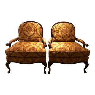 Upholstered Cabriole Leg Berger Chairs - A Pair