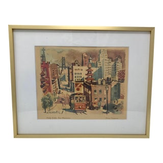 Mid Century Modern San Francisco Dong Kingman City Scape Gold Frame Lithograph For Sale