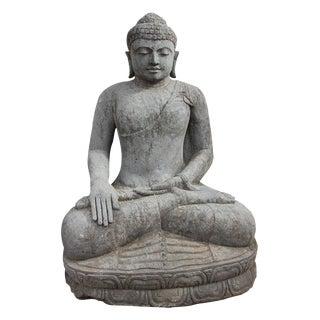 Large Stone Sitting Buddha Figure For Sale