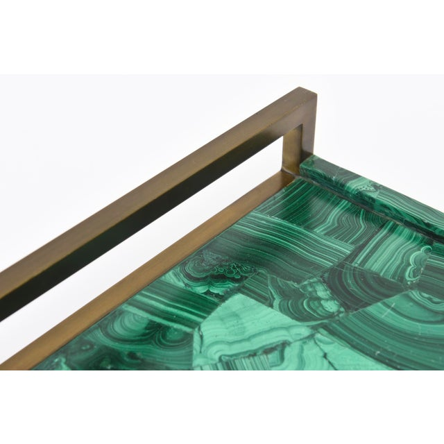 R&Y Augousti Faux Malachite Compostion Wood and Brass Tray For Sale - Image 4 of 10