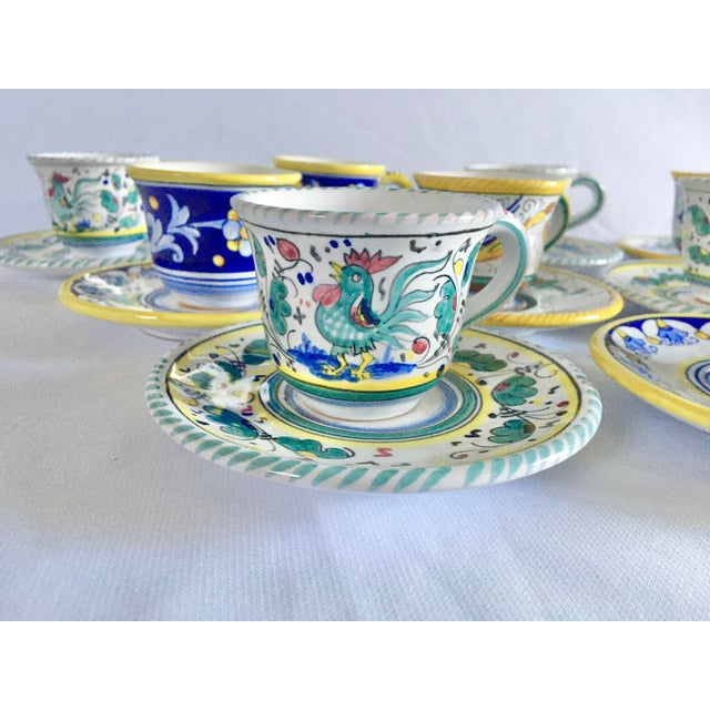 An absolutely charming set of majolica espresso cups and saucers. Three different patterns make the set whimsical and fun....