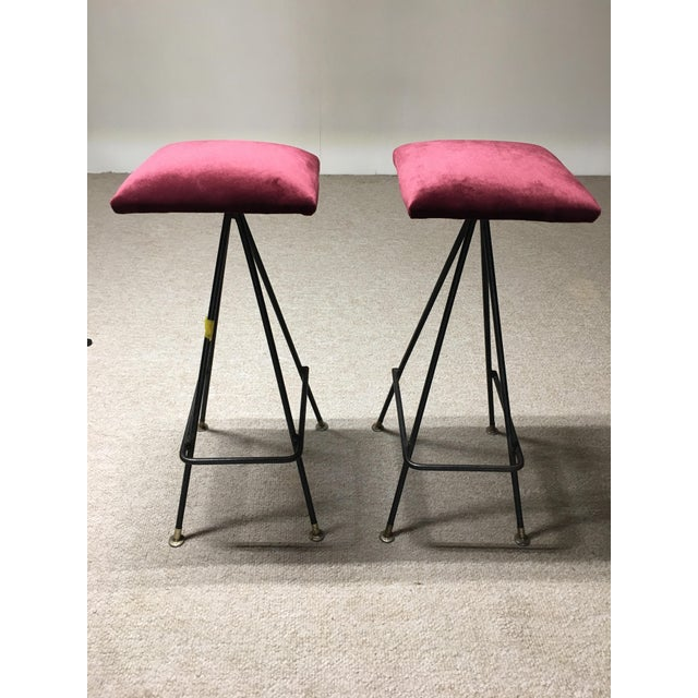 Mid-Century Modern Adrian Pearsall Handmade #11 Bar Stools- A Pair For Sale - Image 3 of 3
