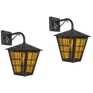1950s Large Scandinavian Outdoor Wall Lights in Patinated Copper & Yellow Glass - a Pair For Sale