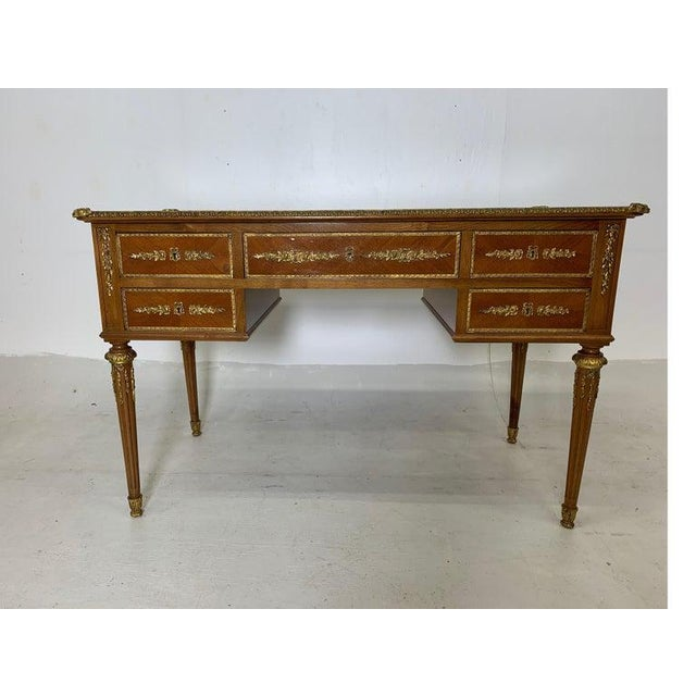 French Style Mahogany and Satinwood Writing Desk With Ormolu For Sale - Image 4 of 13