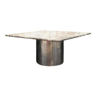1990s Brueton 'Anello' Style Marble Dining Table With Chrome Tubular Base For Sale