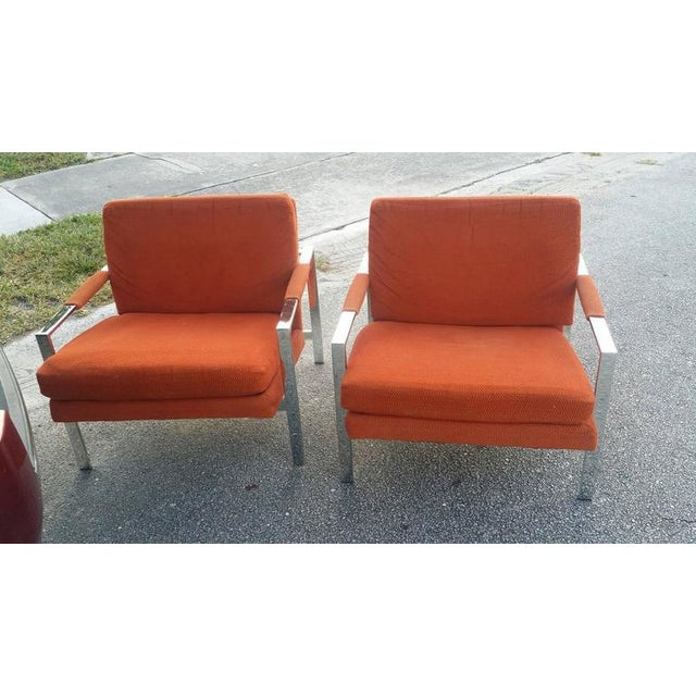 Pair Of Vintage Hollywood Palm Beach Regency Orange Fabric Chrome Cube Flat Bar Armchairs