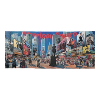 Large Scale American Square Oil Painting Kazuo Ooka For Sale
