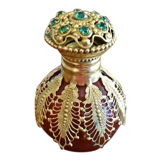 18c French Palais Royal Perfume Bottle - Gold & Ruby Glass & Gem Stones For Sale