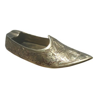 Indian Jutti Slipper Brass Ashtray