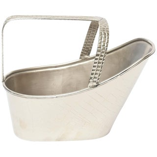 1960s Vintage Silver Plate Wine Holder Caddy For Sale