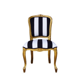 Vintage French White and Black Stripe Gold Louis XV Chair For Sale