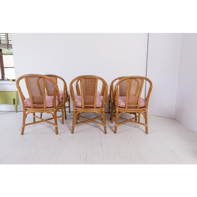 1960s 1960s Vintage McGuire Furniture Rattan Dining Chairs- Set of 6 For Sale - Image 5 of 13