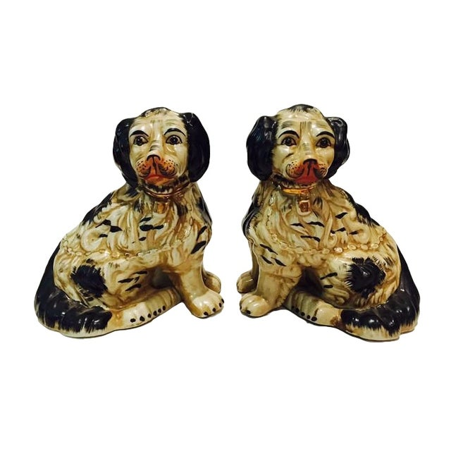1920s Staffordshire Dogs King Charles Spaniels - A Pair - Image 1 of 7