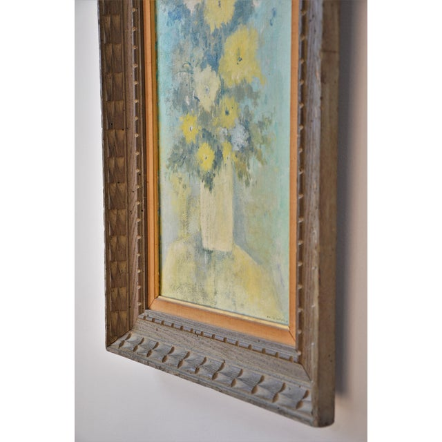 """Vintage Framed Mid-Century Flower Painting on Canvas """"White Vase"""" by Emily Whaley For Sale - Image 9 of 11"""