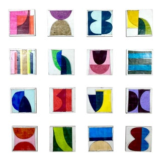 """""""Candy Coated"""" Contemporary Encaustic Collage Installation by Gina Cochran - Set of 16 For Sale"""