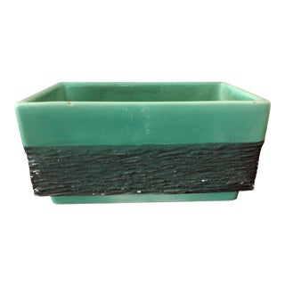 Vintage Mid-Century Aborn H-1 California Green and Gray Pottery Planter For Sale