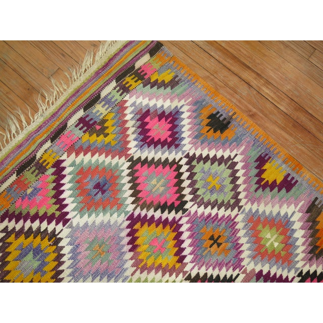 Textile Vintage Flat Weave Kilim Rug - 3'9'' X 4'6'' For Sale - Image 7 of 8