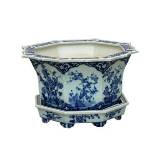 Chinese Canton Octagon Blue & White Porcelain Flower Birds Planter For Sale