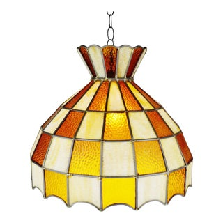 Vintage Tiffany Style Leaded Glass Chandelier Pendant Light For Sale