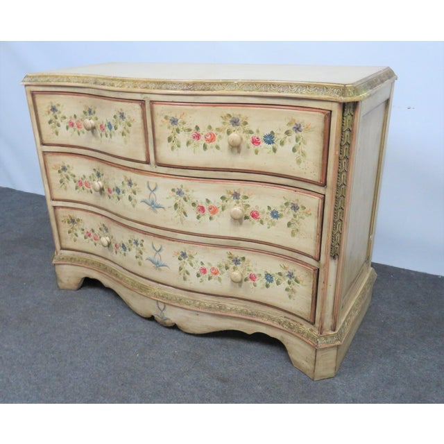 French French Style Paint Decorated Serpentine Front Dresser For Sale - Image 3 of 7