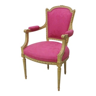 French Carved Cream Painted Fauteuil/Arm Chair For Sale