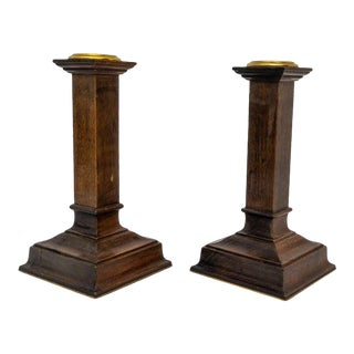 American Arts and Crafts Mahogany Candle Sticks - a Pair For Sale