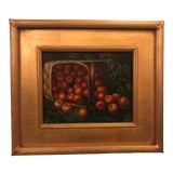 Image of 1980s Apple Framed and Signed Oil on Canvas Painting For Sale