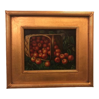 1980s Apple Framed and Signed Oil on Canvas Painting For Sale