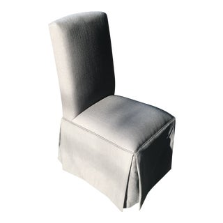 Charcoal Linen Skirted Parsons Chair