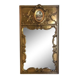 Vintage French Gilt Trumeau Mirror With Hand-Painted Original Landscape For Sale