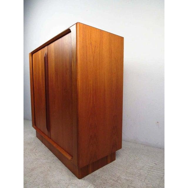 Mid-Century Modern 1970s Danish Modern Solid Teak Tamboured Door Storage Cabinet For Sale - Image 3 of 6
