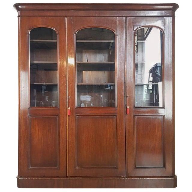 20th Century English Mahogany Wood Bookcase For Sale