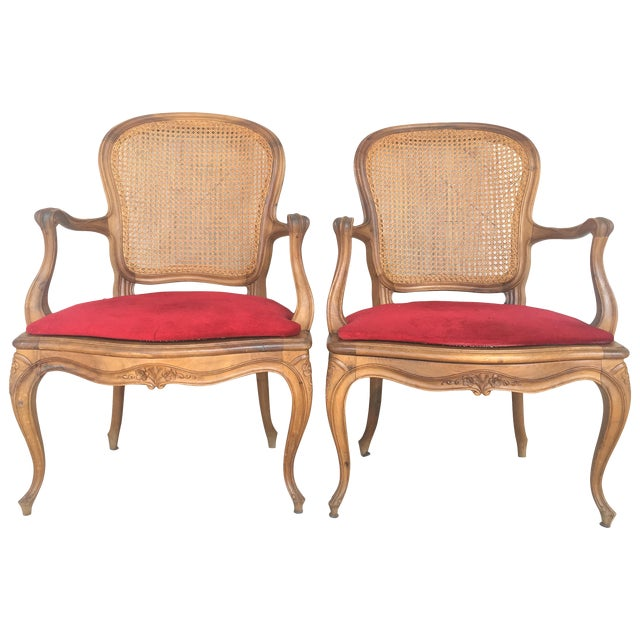 18th Louis XV Cane Back and Seat Fauteuil Armchair. For Sale