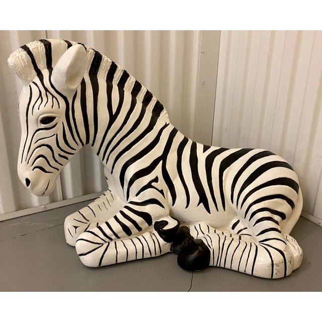 1960s Black & White Zebra Floor Sculpture For Sale - Image 9 of 9